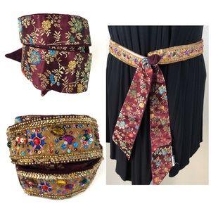 DG2 Reversible Beaded Waist Belt Boho Bollywood
